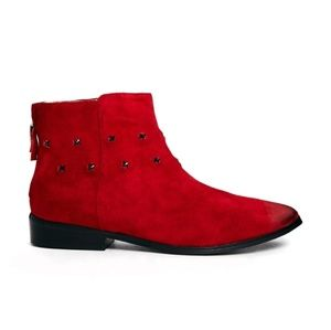 Messeca NY  Red Tito Studded Ankle Boots